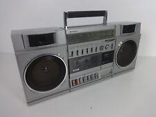 Vintage Boombox Hitachi TRK 7720E Portable Stereo Radio Cassette Recorder Silver