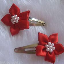 girls hair clips snap clips slides bendies flower hair clip red flowers