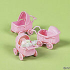 NEW BABY SHOWER Pastel Pink Mini Baby Carriage Favors