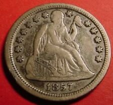 1857 Liberty Seated Dime 10¢ Extra Fine U.S.A. Coin #598285