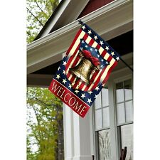 Liberty Bell & Heart & Stars Welcome Patriotic Vintage Pride Lg Flag DT 2 sided