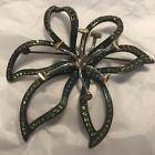 Carolee Limited Edition 2005 Flower Brooch Pin Teal Shades Of Green Rhinestones