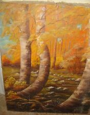 BEAUTIFUL EARLY FAYE RUSHING TEXAS OIL PAINTING FALL LEAVES FOREST
