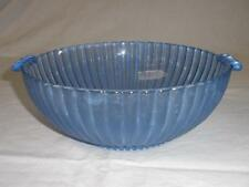 RETRO VINTAGE FROSTED PRESSED BLUE GLASS BOWL