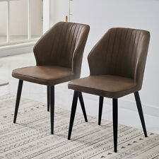 More details for 2pcs pu faux leather dining chairs set metal legs restaurant lounge dining chair