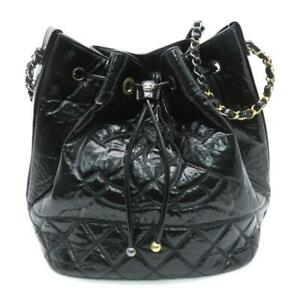 Auth Chanel Black CC Drawstring Bucket Bag Quilted Patent Leather