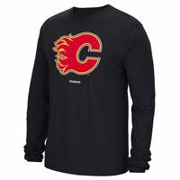 Calgary Flames Reebok Jersey Crest Team Logo Long Sleeve Black T-Shirt Men's