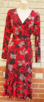 ANTHOLOGY RED BROWN FLORAL WRAP LYCRA LONG SLEEVE A LINE LONG MIDI DRESS 18