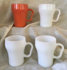 Set Of 4 Anchor Hocking Fire King Cola/Soda Fountain Mugs; 3 White; 1 Coral
