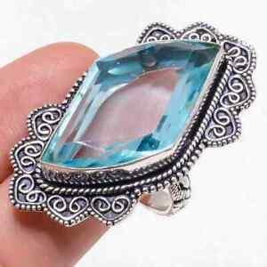 Aqua Apatite Gemstone Handmade 925 Sterling Silver Jewelry Ring Size 9.5