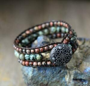 African Turquoise and Jasper Leather Cuff Bracelet