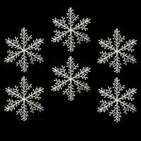 Christmas Decoration Pack of 6 Iridescent White Plastic Snowflakes