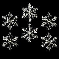 Decoración Navidad Pack de 6 IRIDISCENTES Plástico Blanco Copos de nieve