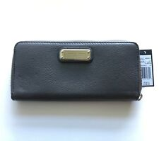 $198 MARC JACOBS Classic Q Grey Leather Long Zip Continental Clutch Bag Wallet