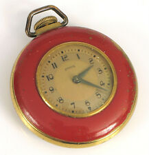 RARE ANTIQUE INGRAHAM POCKET WATCH ART DECO NUMBERS PAINTED RED FACE RUNNING