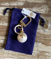 NWT Tory Burch Faux Pearl Rose Gold T Logo Key Fob Bag Charm Jewelry Pouch Bag
