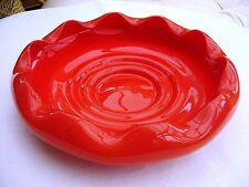 Tazón de fuente decorativa roja, Arte Vidrio años 70