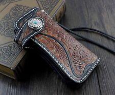 Mens Handmade Vintage Biker Trucker Long Leather Carved Wallet Purse W/ Chain