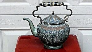 ANTIQUE 18c MIDDLE EAST SILVERED COPPER TEAPOT W/ HIGH RELIEF WEDDING SCENE