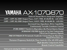 YAMAHA AX-870 AX-1070 STEREO INTEGRATED AMPLIFIER OWNER'S MANUAL IN ENGLISH