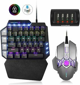 HYCARUS Wired One Handed Mechanical Gaming Keyboard and Mechanical Gaming Mouse