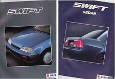 Two 1989-90 SUZUKI SWIFT International Market Brochures HATCH SEDAN Inc 1.3 GTi