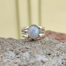 Rainbow Moonstone 925 Sterling Silver Ring Meditation Band Ring Size 8 ro200119