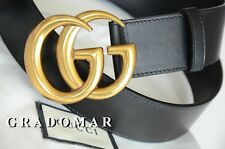 Unisex Gucci Belt BLACK Leather GG Gold Buckle size 100 / 40 fits 34-36