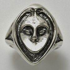 Crone Ring .925 Sterling Silver Sz 6 Wise Owl Woman ring - Goddess Crone Ring