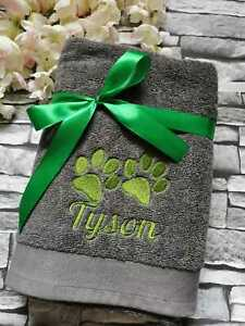 Personalised Embroidered Paws, Pet/Bath Towel for Dog/Puppy,Great Gift, Grooming