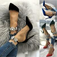 Women Luxury Ankle Strap Sandal Rhinestone High Heel Point-Toe Party Bride Shoes