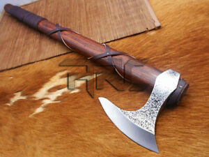 CUSTOM MADE HAND FORGED CARBON STEEL RAGNAR LOTHBROK VIKING AXE HATCHET-SHEATH