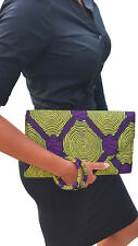 Yellow and Purple African Print Clutch Purse