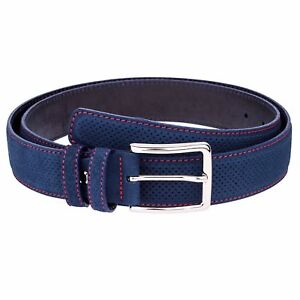 Blue Suede Belt by Capo Pelle Mens Belts Perforated leather Red stitches