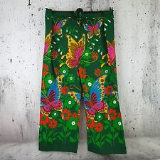Vintage 60's Colorful Psychedelic Butterfly MOD Wide Leg Tie Front Hippie Pants