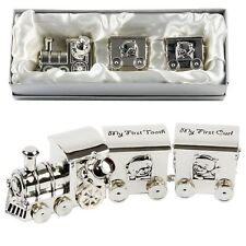 SILVER PLATED FIRST TOOTH & CURL SET TRAIN TWO CARRIAGES CHRISTENING GIFTS