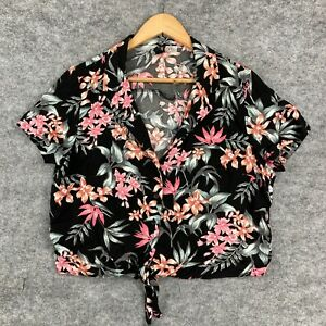H&M Womens Top Size 12 Black Floral Short Sleeve Cropped Button Front 144.07