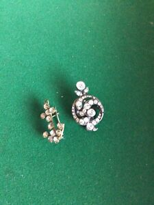 Beautiful Vintage Pair Of Victorian Probably Paste Glass Brooches Anchor + Other