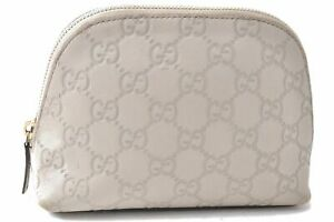 Authentic GUCCI Guccissima GG Leather Cosmetic Pouch 141810 White D0505