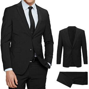 Abito Uomo Sartoriale Nero Slim Fit Vestito Elegante Da Cerimonia 46 48 50 52