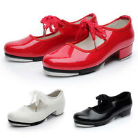 Pop Girls Tap Dance Shoes Mary Janes Heel Breathable Dancer Shoes Lacework Decor