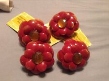 Set Of 4 Kitchen Table Napkin Rings NWT Red Flowers