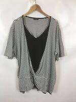 VIA APPIA Damenshirt, Größe 50, schwarz, weiss, Streifen, Knoten