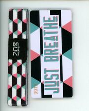 Medium ZOX Silver Singles Strap JUST BREATHE Wristband with Card Reversible