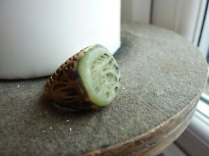BEAUTIFUL POST MEDIEVAL ISLAMIC GOLD GILDED OTTOMANS SEAL RING WITH GREEN STONE