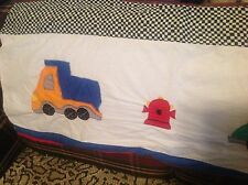 Juvenile valance. Construction theme. Trucks, cars, fire hydrant w/ wall border