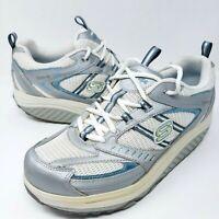 Skechers Shape Ups 11814 Women's Walking Toning Shoes Sz 10 M White Gray Sneaker