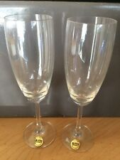 Alessi Lead Crystal Champagne Flute Glasses- One Pair