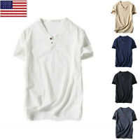Male Men Casual V-neck Cotton Linen Blouse Tops T-shirt Summer Tee Henley 2019
