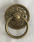 """Vintage Ring Pull Brass 3.75"""" Leaf Scroll Unlacquered Cabinet Hardware"""